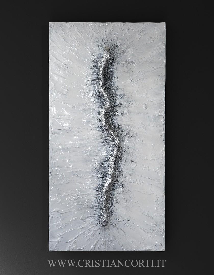Quadri moderni in rilievo con foglia argento by Cristian Corti