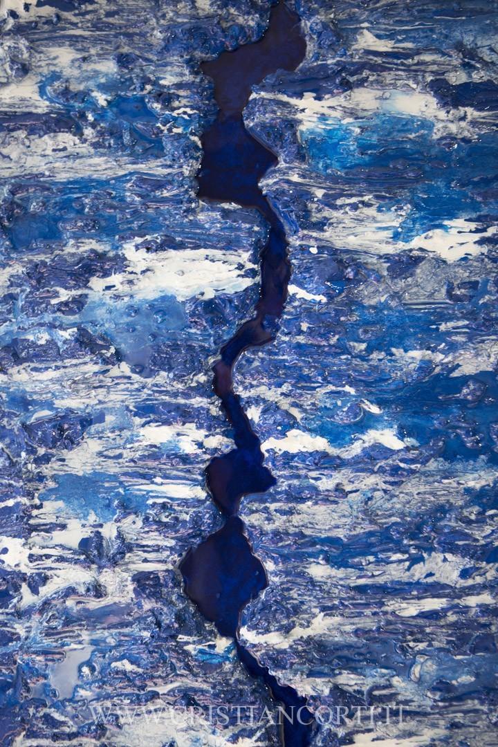 Quadri materici moderni con resina blu by cristian corti for Quadri moderni materici