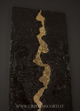 quadro foglia oro materico moderno