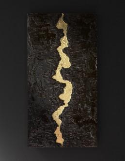 quadro foglia oro materico